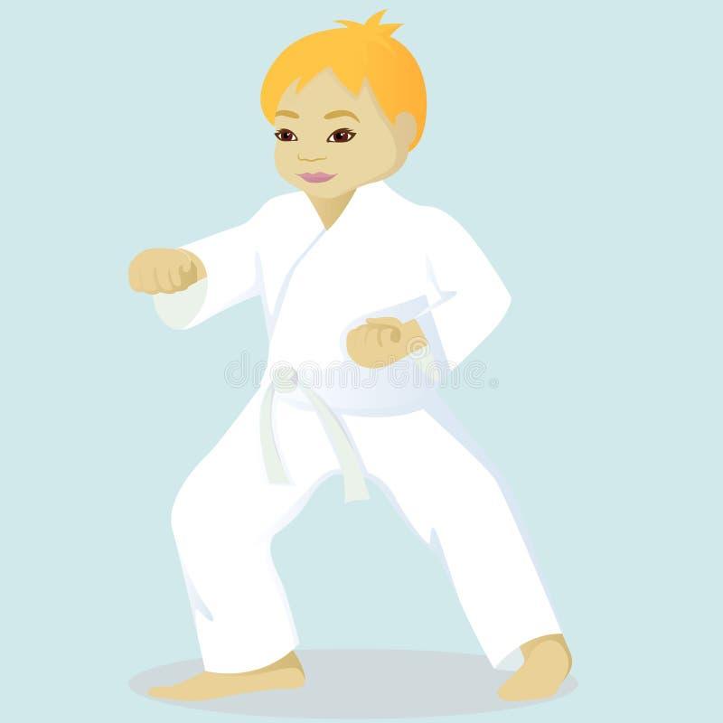 Pysen är förlovad i karate vektor illustrationer