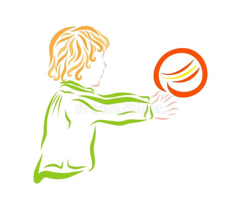 Pysen fångar bollen vektor illustrationer