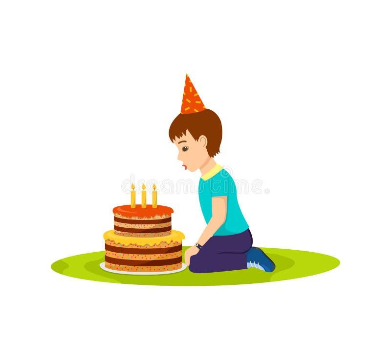 Pysen i ett festligt lynne blåser ut födelsedagkakan royaltyfri illustrationer