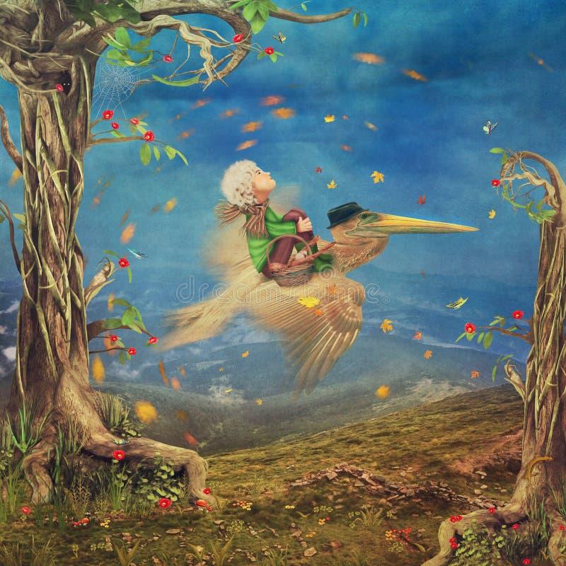 Pysen och bruntpelikan flyger i himlen stock illustrationer