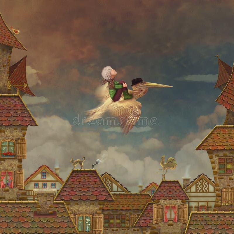 Pysen och bruntpelikan i himlen vektor illustrationer