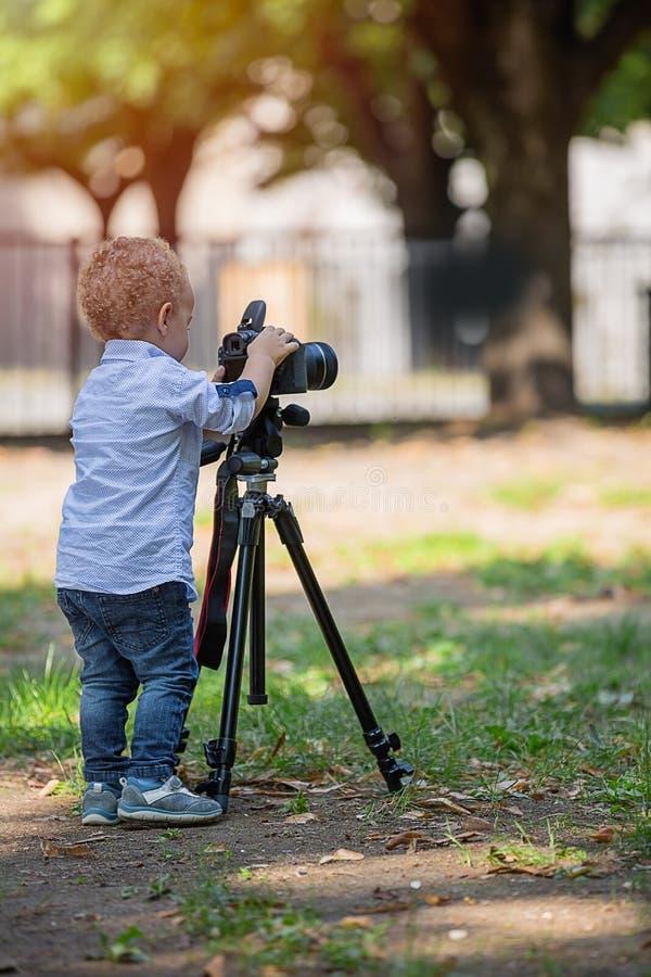 Pysen som fotograferar på kameran på tripoden i, parkerar arkivfoton