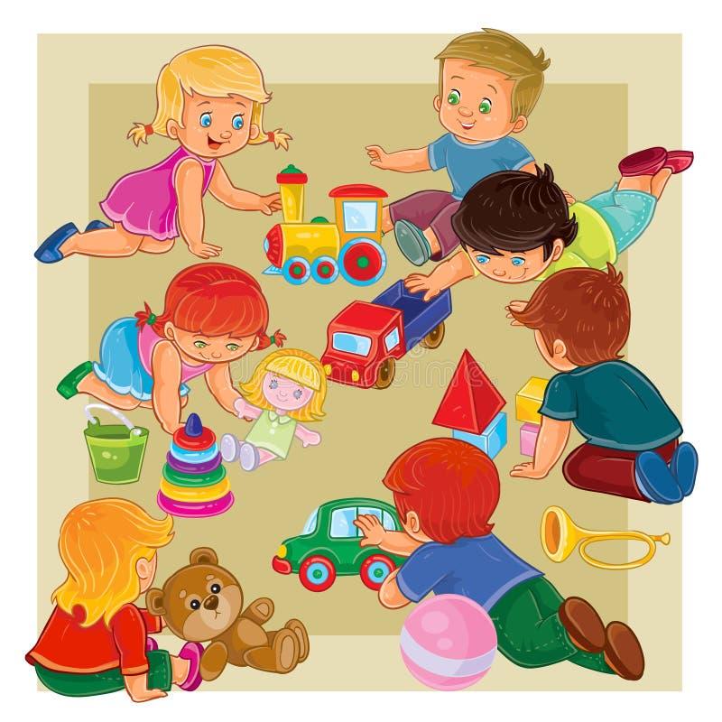 Pyser och flickor som sitter på golvet som spelar med leksaker vektor illustrationer