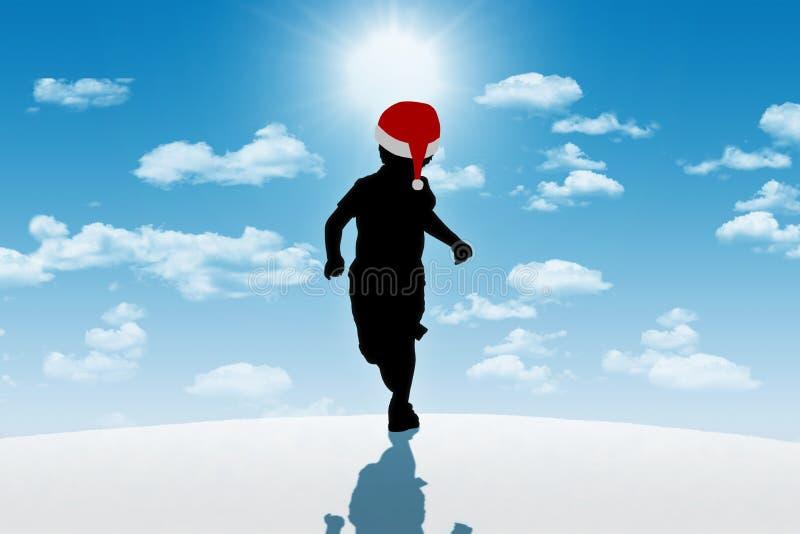 Pysspring i röd hatt på vinterbakgrund royaltyfri bild