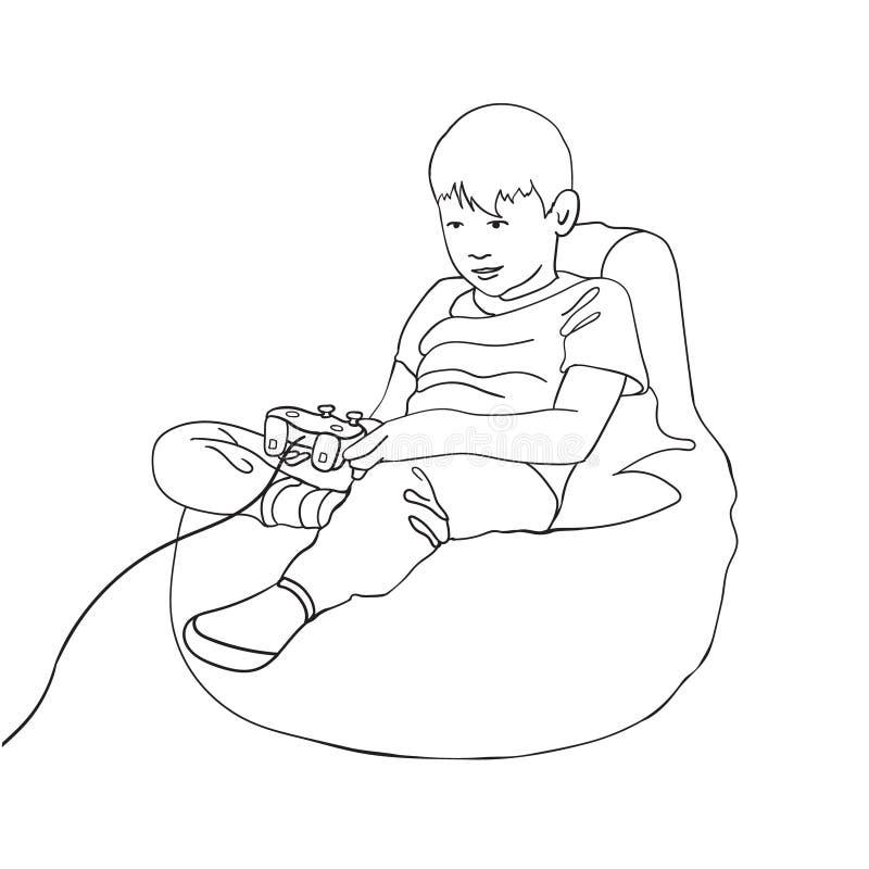 Pystecken som spelar videospelet Unge som sitter på en sittkuddestol med den modiga kontrollanten för styrspak Vektorlinje teckni royaltyfri illustrationer