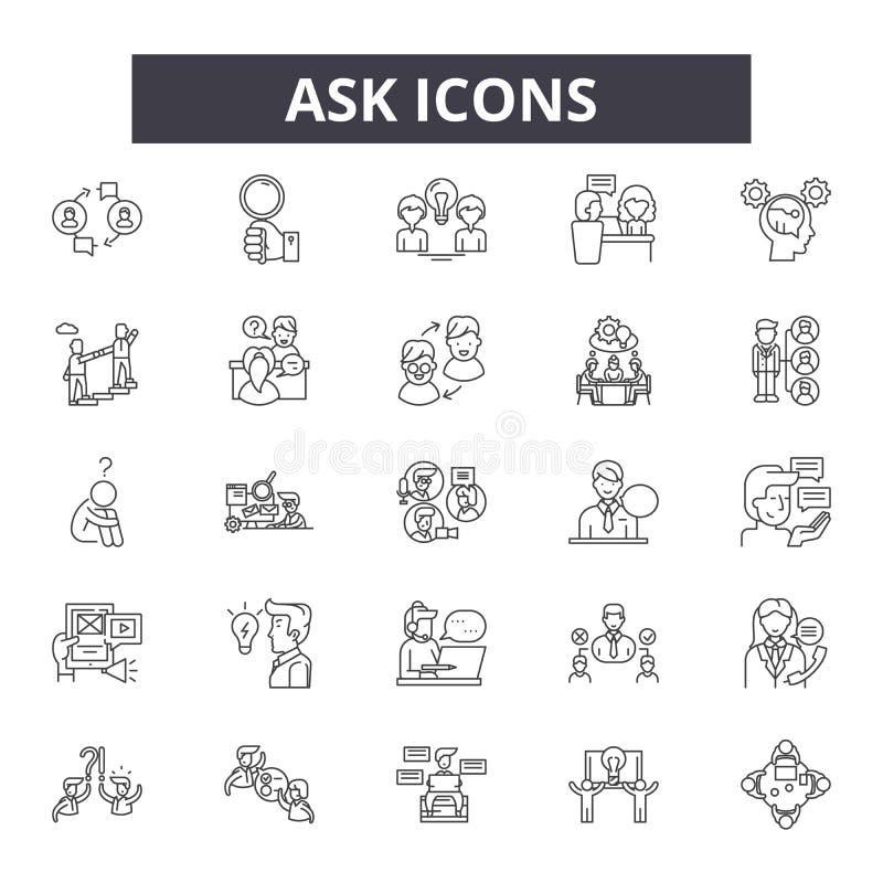Pyta kreskowe ikony, znaki, wektoru set, kontur ilustracji pojęcie royalty ilustracja