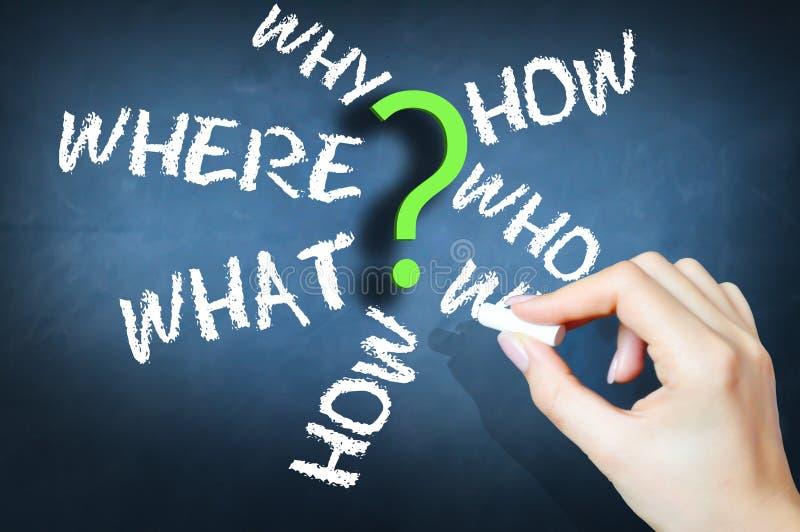 Pytania dlaczego co gdy dokąd sugerujący procedury lub rozwój biznesu obraz royalty free