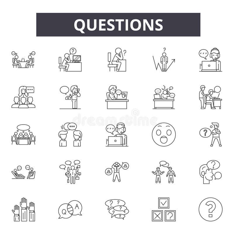 Pytania wykładają ikony, znaki, wektoru set, liniowy pojęcie, kontur ilustracja ilustracji
