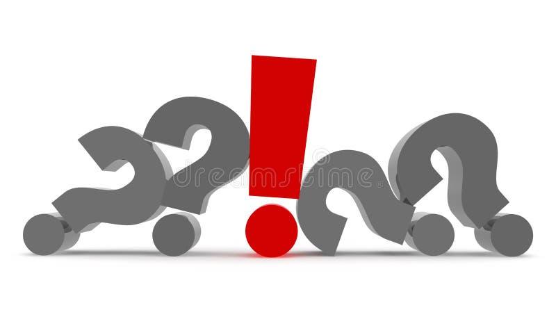 Pytanie 3d i okrzyk ilustracja wektor