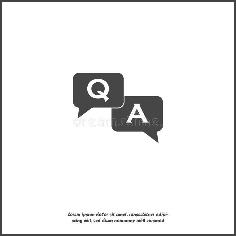 Pytanie odpowiedzi ikona Płaska wizerunek mowa gulgocze pytanie i odpowiedź na białym odosobnionym tle ilustracja wektor