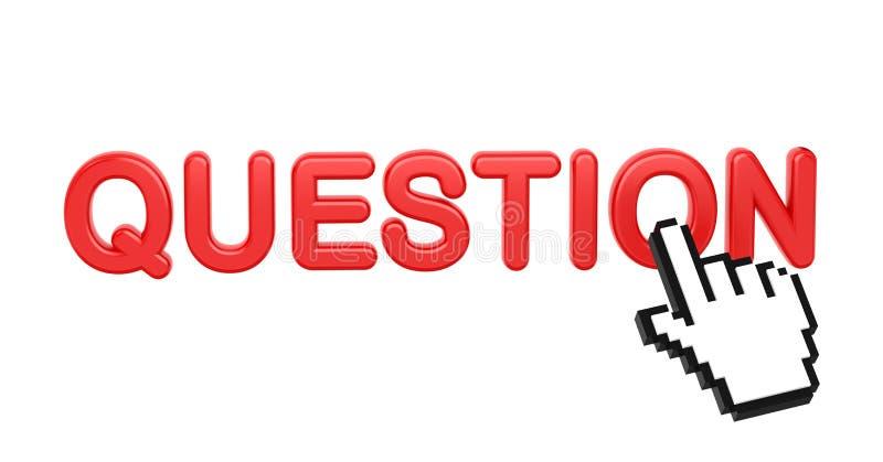 Pytanie - rewolucjonistki 3D słowo z ręka kursorem. ilustracja wektor