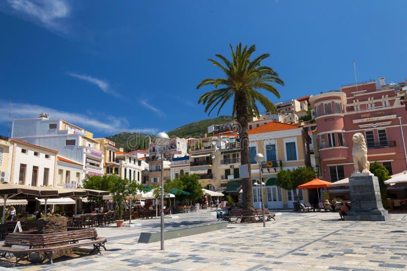 Pythagoras-Quadrat in Samos-Stadt Griechenland stockfotos