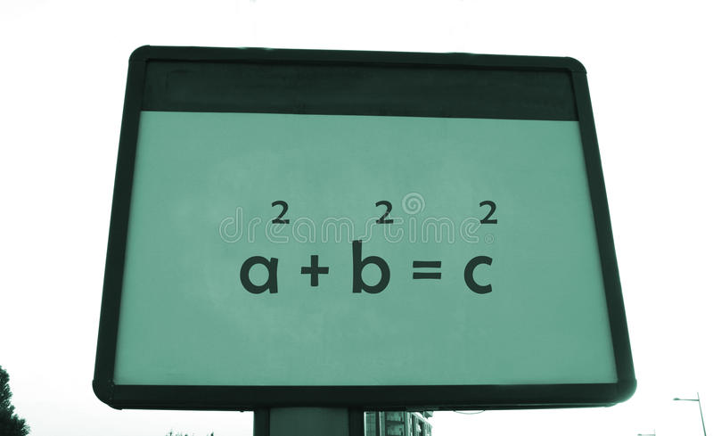 Pythagoras's theorem on a billboard.  royalty free stock photos