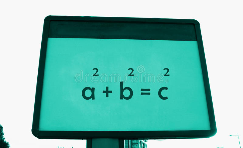 Pythagoras `s theorem on a billboard.  stock photo