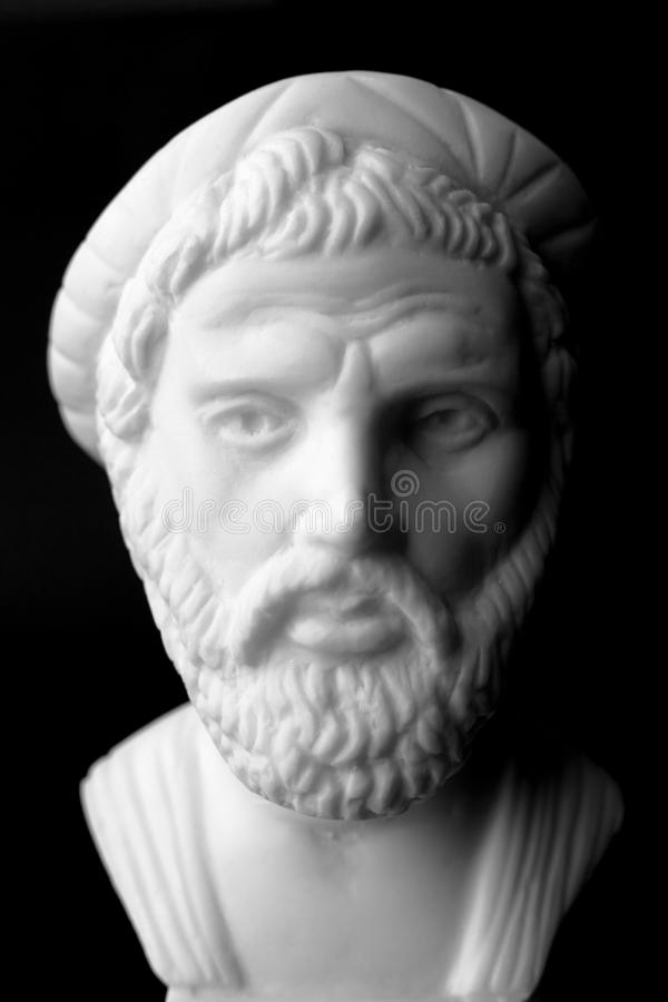 Pythagoras of Samos, was an important Greek philosopher, mathematician, geometer and music theorist. White marble bust. stock photos