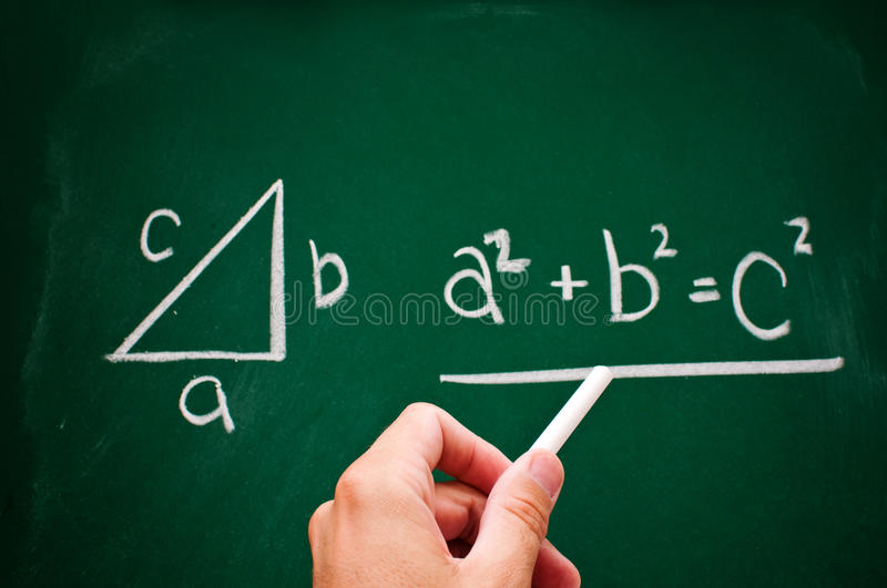 Pythagorean theorem. Sketched with white chalk on a chalk board royalty free stock image