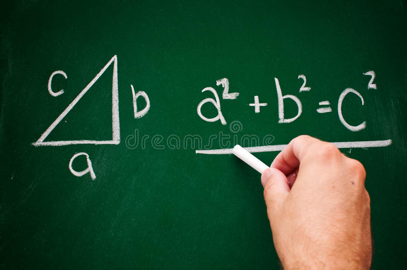 Pythagorean theorem. Sketched with white chalk on a chalk board royalty free stock images