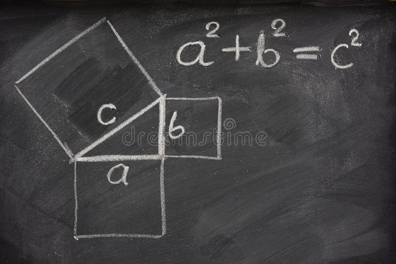 Pythagorean theorem on blackboard royalty free stock photography