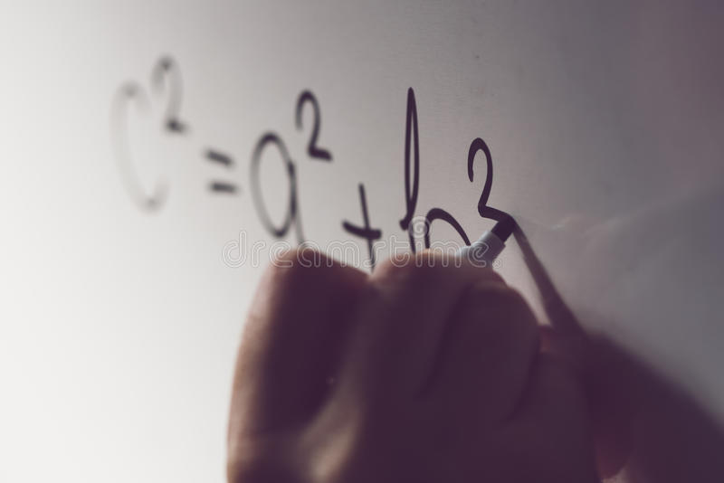 Pythagorean theorem, math class in the school royalty free stock images