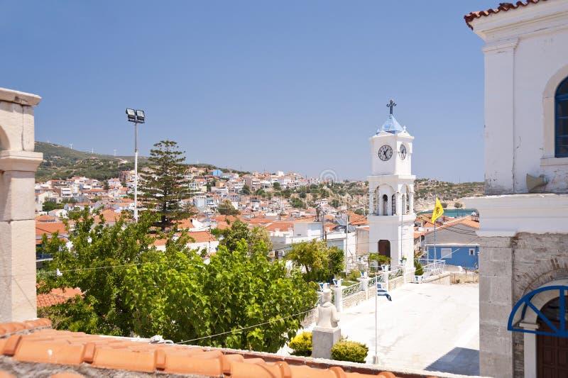 Pythagorio on Samos. In Greece stock photos