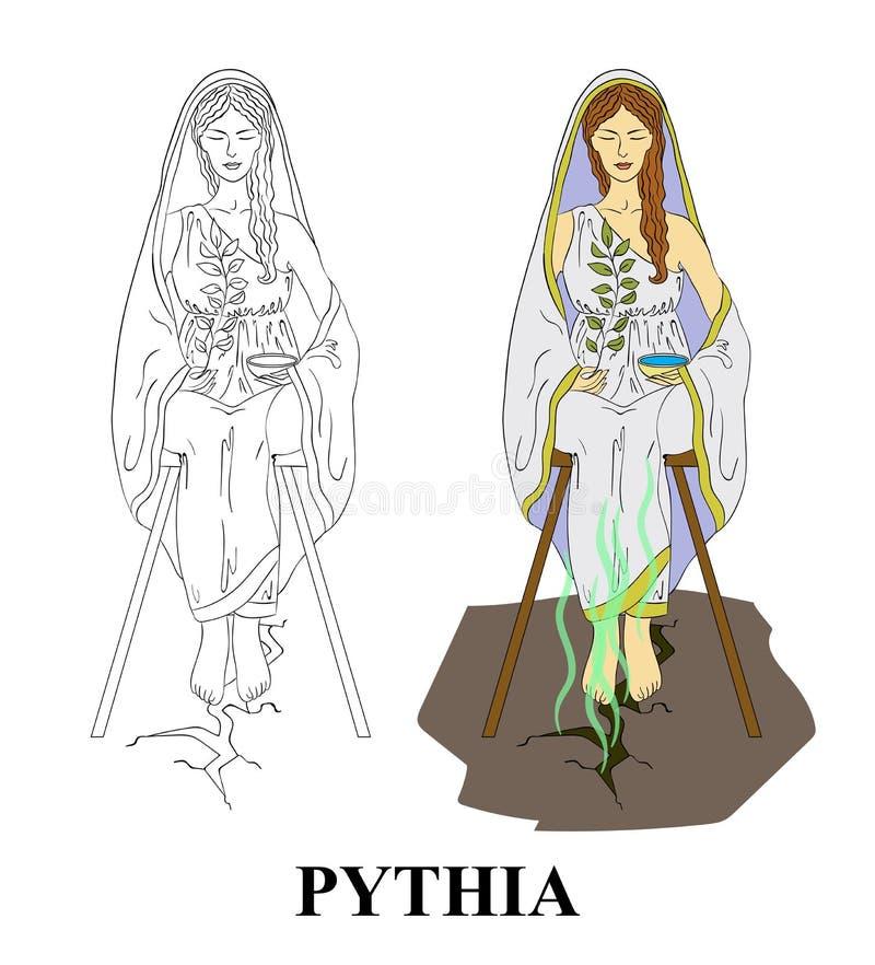 Pythia wyrocznia w antycznym Grecja ilustracja wektor