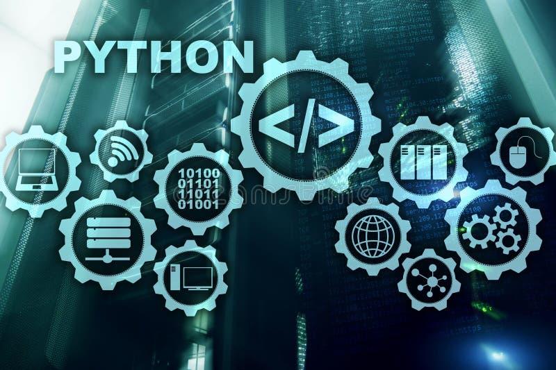 在服务器室背景的Python编程语言 在虚屏上的编程的工作流摘要算法概念 库存例证