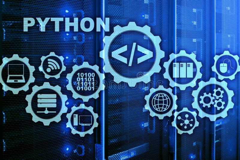 Python Programming Language on server room background. Programing workflow abstract algorithm concept on virtual screen. royalty free stock photo