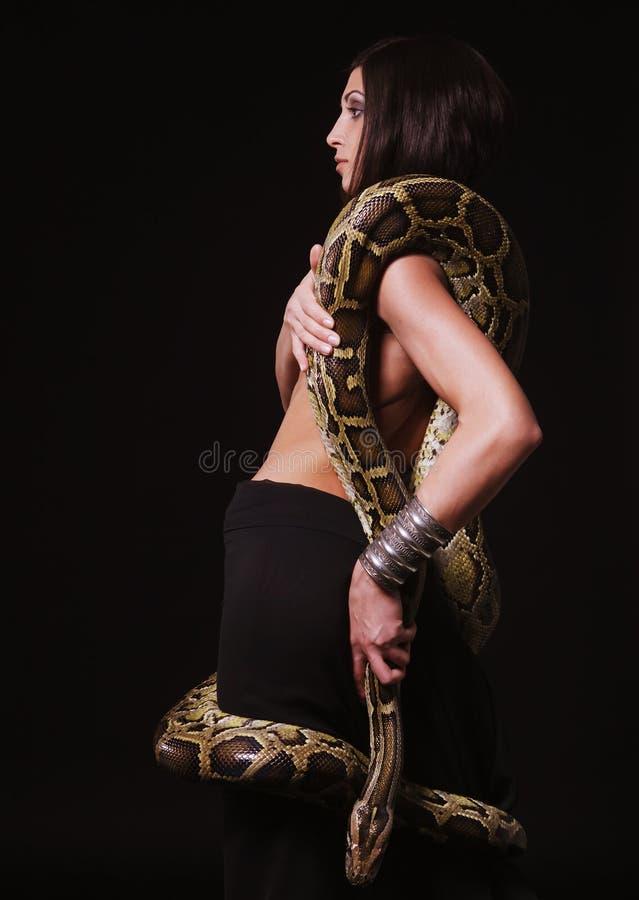 Python sexy de fixation de brunette photographie stock