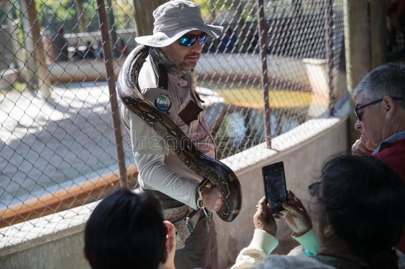 Python show in Everglades Safari Park. Miami, FL, January 14, 2018. Python show in Everglades Safari Park stock photo