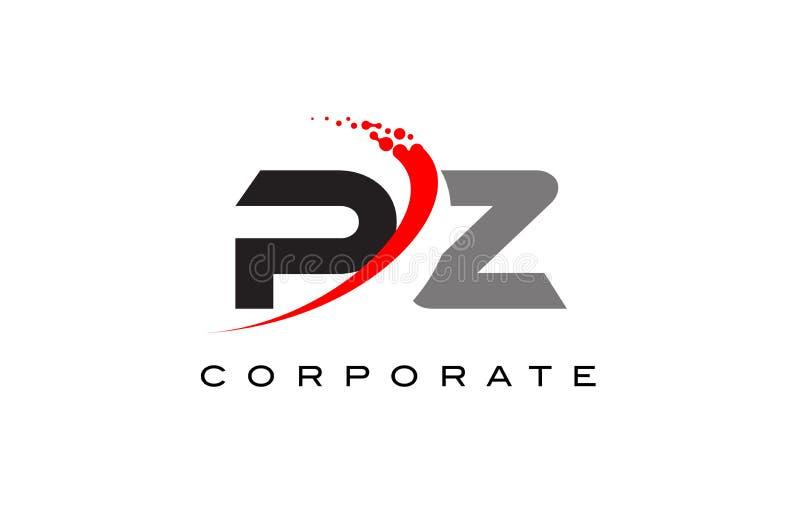 PZ moderne Brief Logo Design met Swoosh vector illustratie