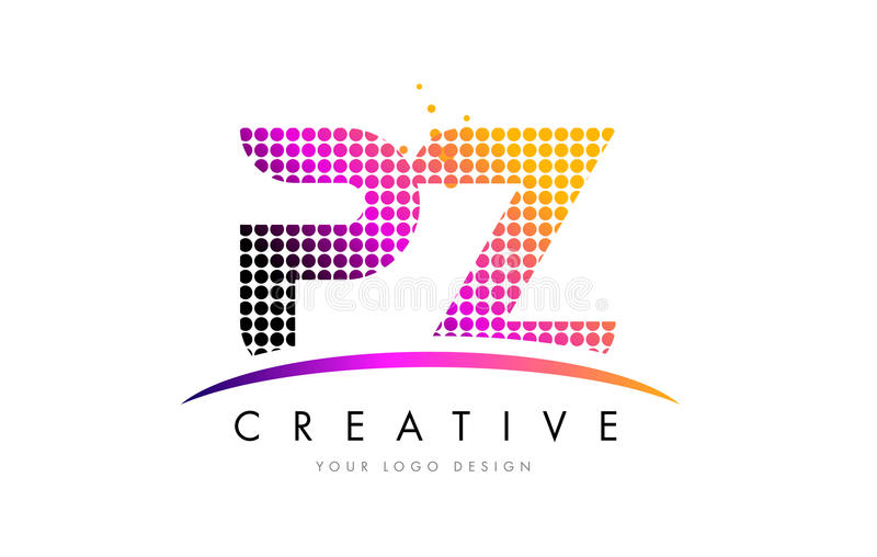 PZ P Z Letter Logo Design with Magenta Dots and Swoosh. PZ P Z Dots Letter Logo Design with Magenta Bubble Circles and Swoosh vector illustration
