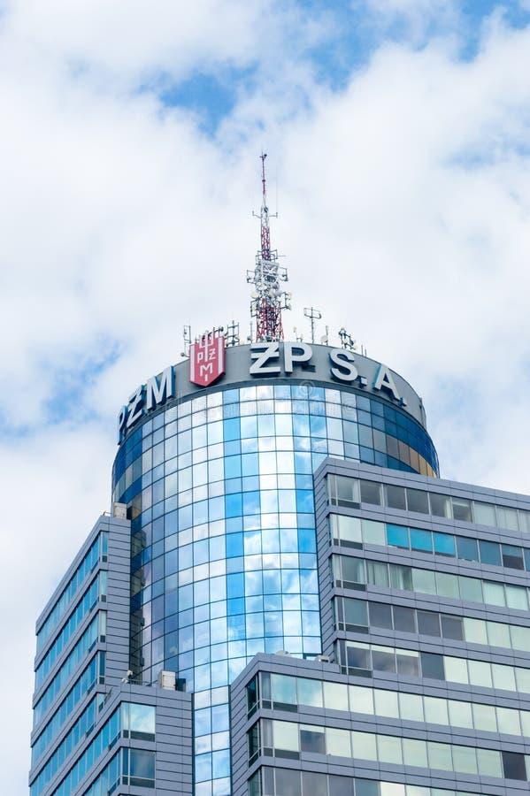 PZM och ZP S A allsången på Polsteam förlägger högkvarter Pazim i Szczecin royaltyfria foton