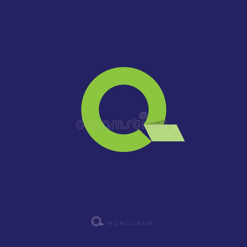 Q信件 Q origami商标 G组合图案 象一条绿色丝带的信件G 库存例证