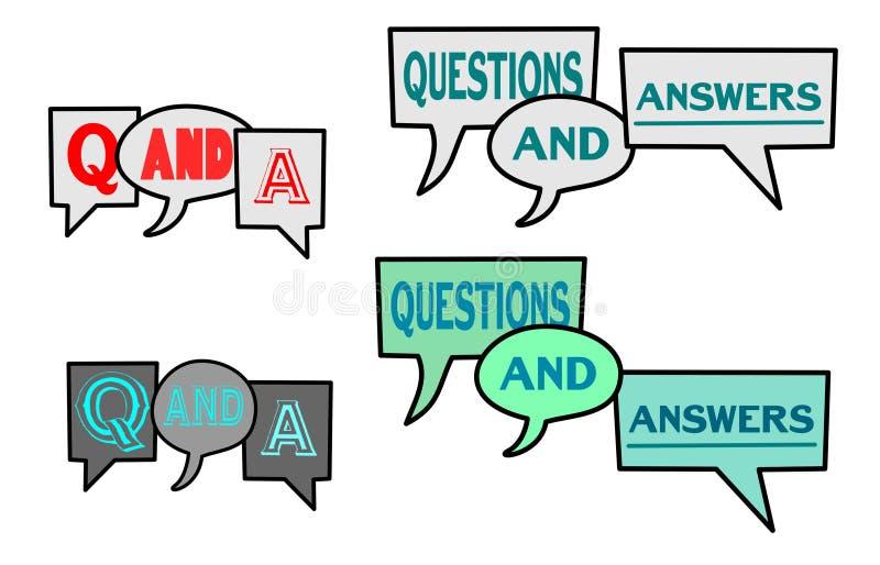 Q和问题&答复讲话泡影传染媒介例证 向量例证