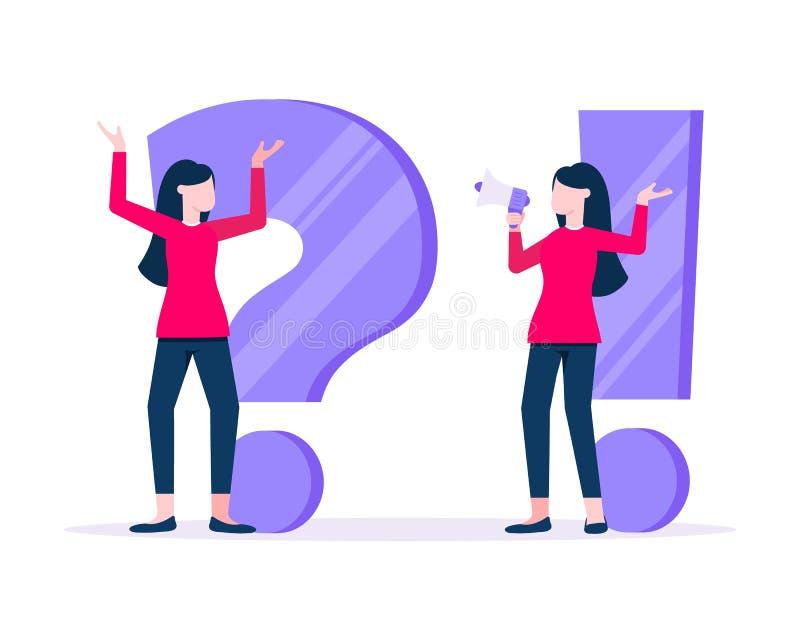 Q και Μια ιδέα με μικροσκοπικές γυναίκες με μεγάλο ερώτημα, θαυμαστικό διανυσματική απεικόνιση