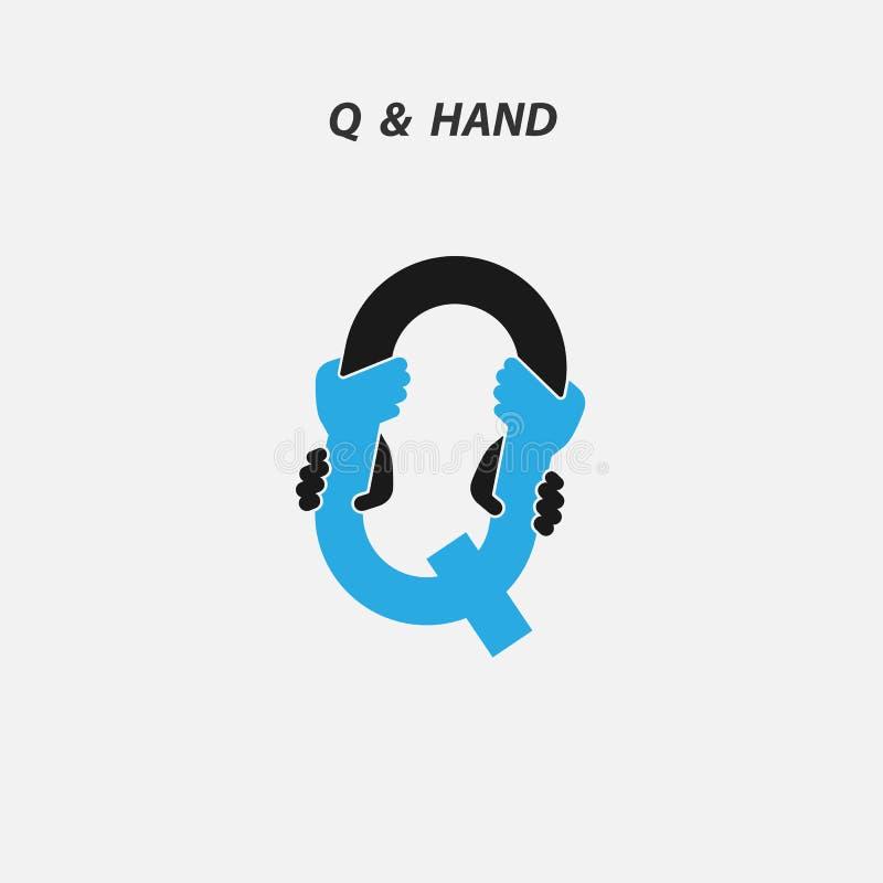 Q - Пометьте буквами абстрактный значок & вручите шаблон вектора дизайна логотипа Ita иллюстрация штока