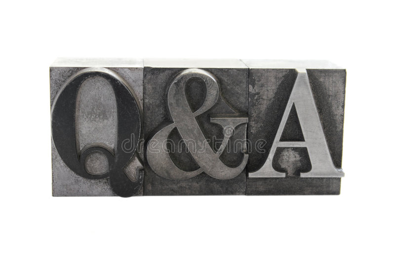 Q&A. Old lead letterpress letters form the term 'Q&A' in upper case type isolated on white