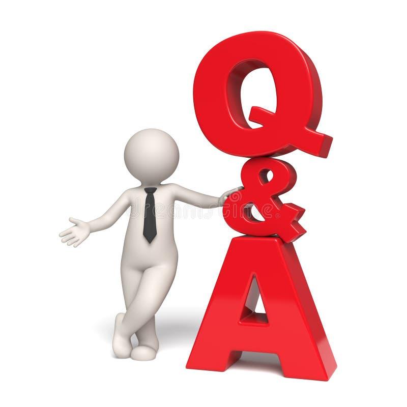 Q&A pictogram - Vragen en antwoorden - 3d mens royalty-vrije illustratie