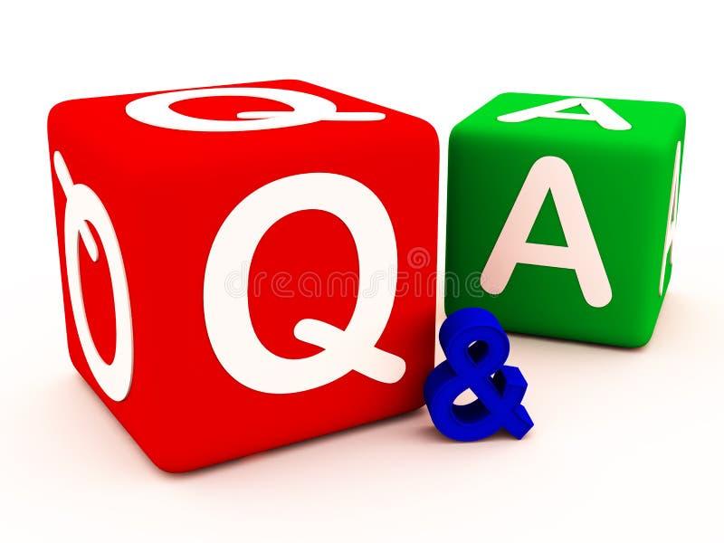 Q&A vragenantwoorden en twijfels stock illustratie