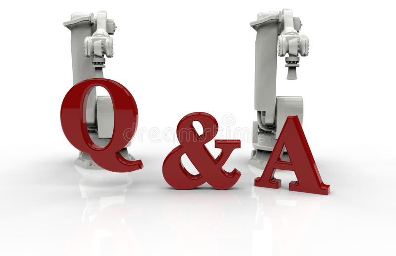 Q- & a-begrepp - industriella robotar stock illustrationer