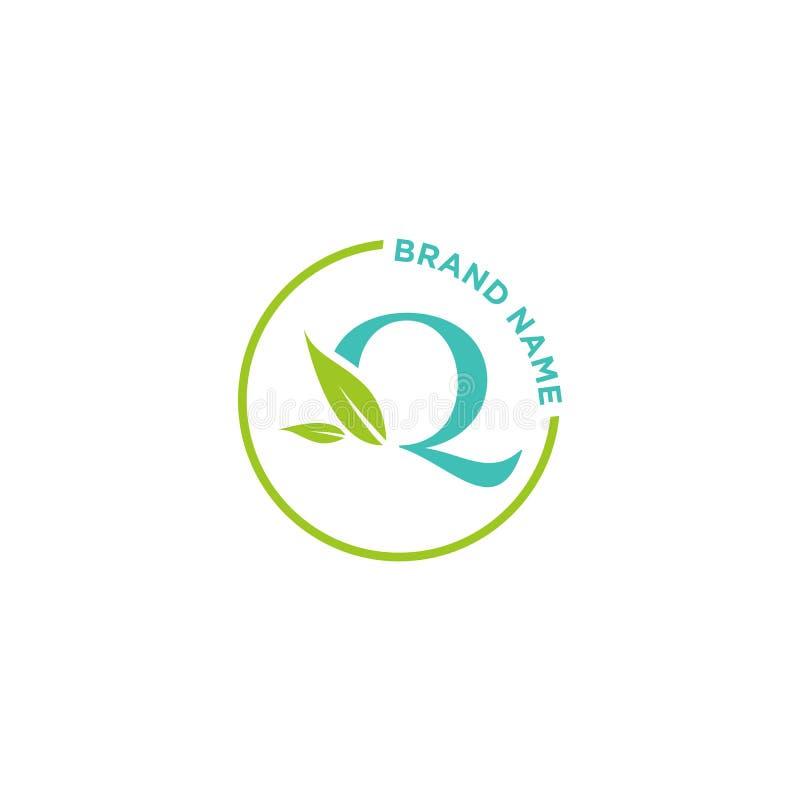 Q-bokstavslogo eller initialer för affär vektor illustrationer