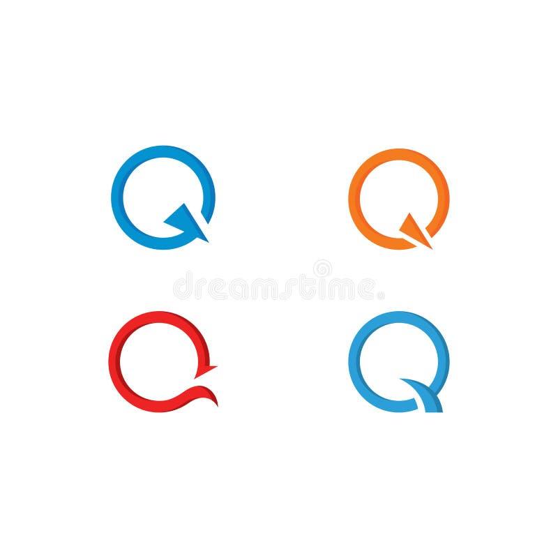 Q-bokstavsLogo Template vektor royaltyfri illustrationer