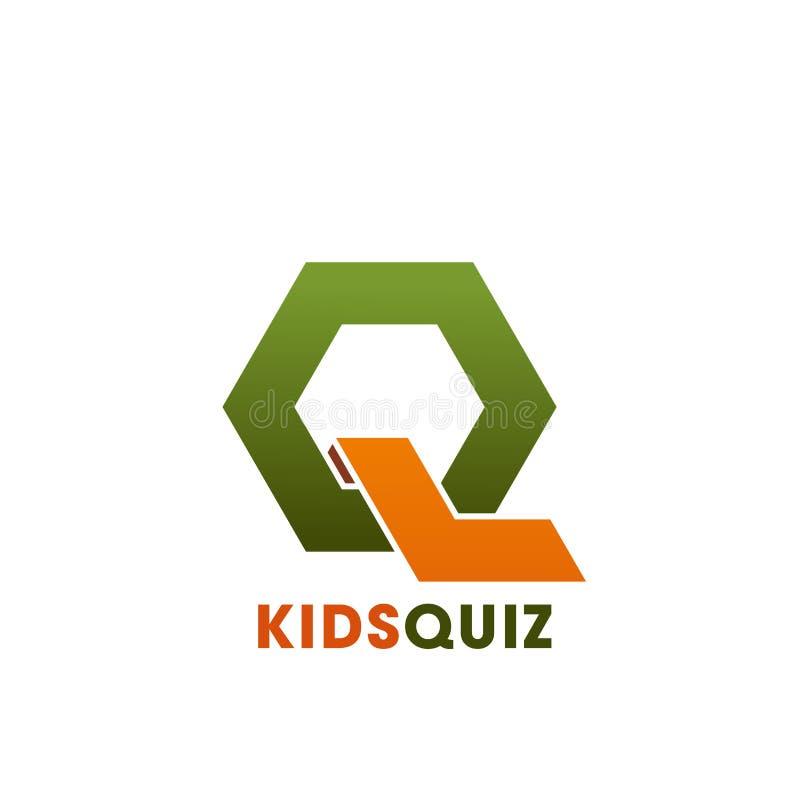 Q-Buchstabevektorikone für Kinder befragen Bildungsverein stock abbildung