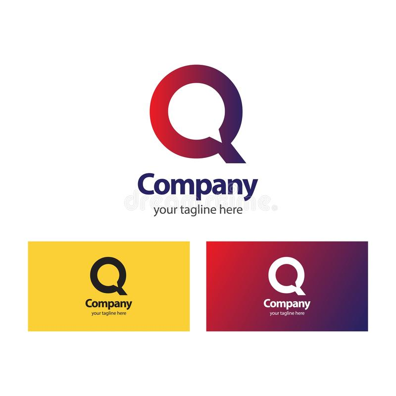 Q Company Logo Vector Design Illustration vektor abbildung