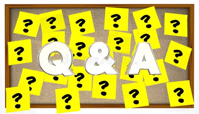 Q e perguntas responde ao quadro de mensagens pegajoso das notas ilustração stock