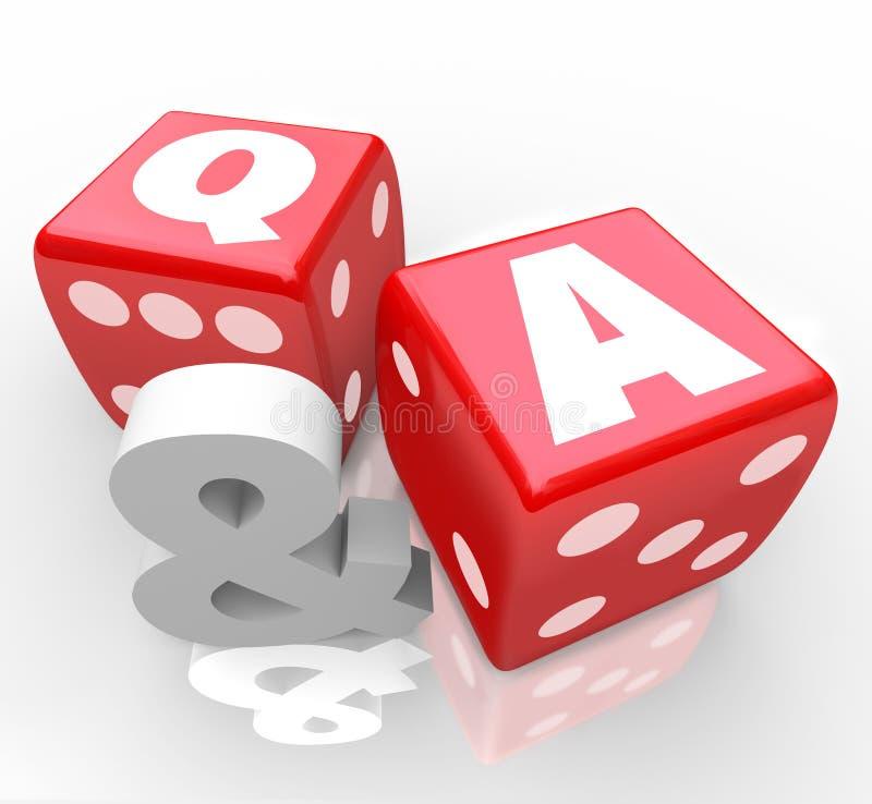 Q e perguntas responde a letras em dados vermelhos ilustração royalty free