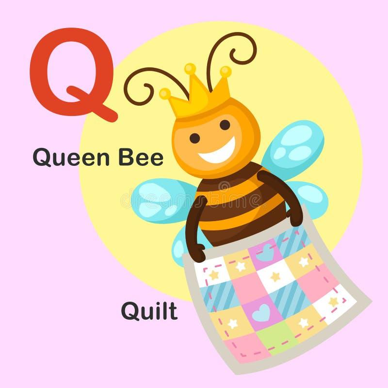 Q-edredón animal de la letra del alfabeto del ejemplo, abeja reina ilustración del vector