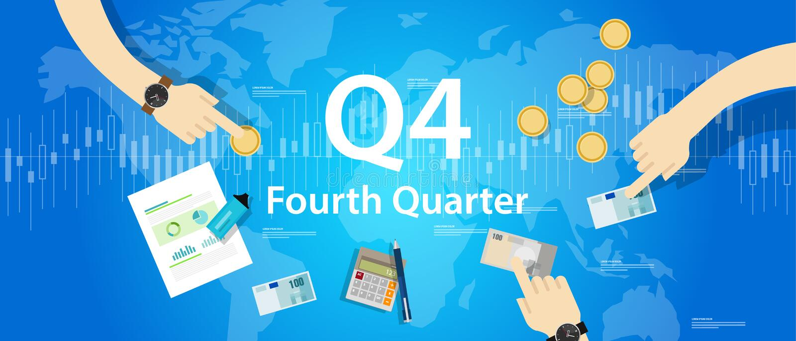 Q4 fourth quarter business report target corporate financial result stock illustration