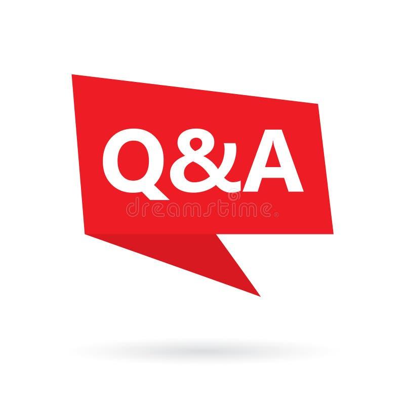 Q&a-fråge- och svarsakronym på en anförandebubbla royaltyfri illustrationer