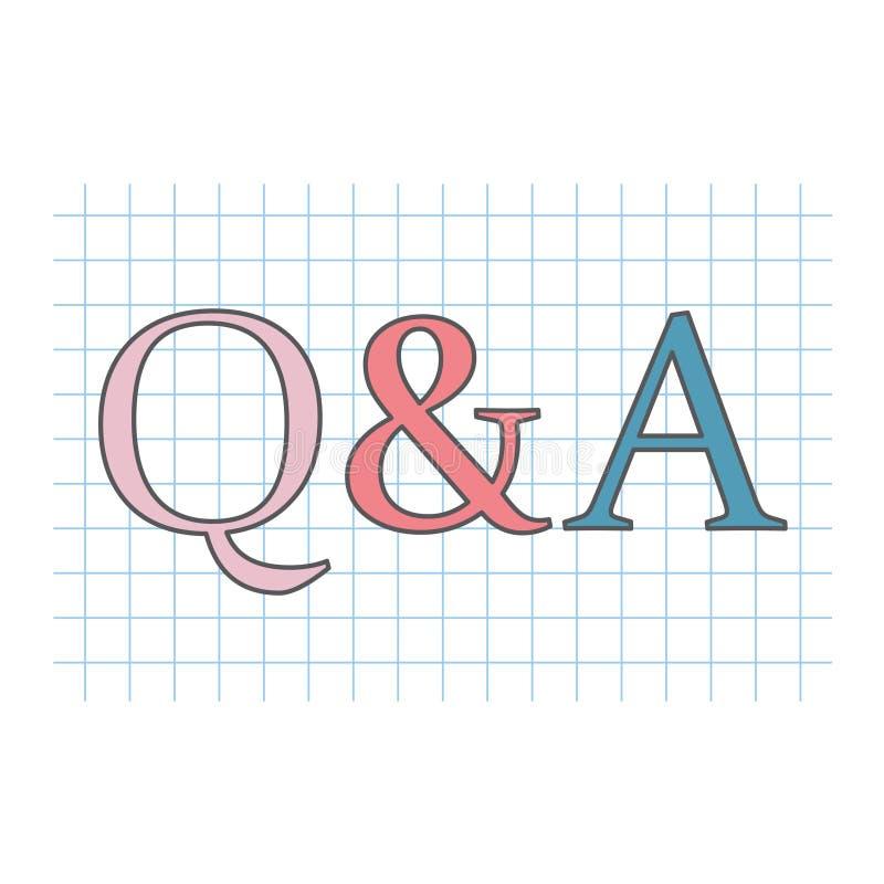 Q&a-frågor och svar som är skriftliga på det rutiga pappers- arket vektor illustrationer